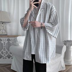 POSI(ポシ) - Elbow-Sleeve Striped Shirt