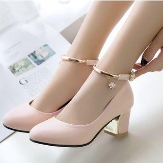 Freesia - 仿皮粗跟鞋