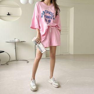 DABAGIRL(ダバガール) - Varsity Letter T-Shirt & Shorts Set