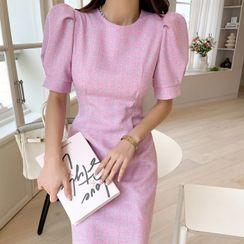 DABAGIRL - Puff-Sleeve Plaid Sheath Dress