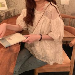 Fabricino(ファブリチーノ) - Elbow-Sleeve Lace Blouse