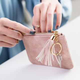 cococow(ココカウ) - Faux Leather Tassel Coin Purse