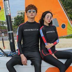 Oceanid - 情侶款字母長袖防曬衣 / 游泳短褲 / 長泳褲 / 比基尼泳衣下裝 / 套裝