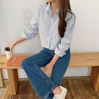 PPGIRL - Stripe Cropped Shirt