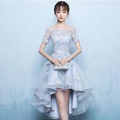 Mar de Amor - Short-Sleeve A-Line / High-Low Prom Dress