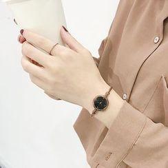 ONAJI - 套装: 复古手镯手表 + 树叶开口手镯