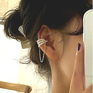 Kokyu - Freshwater Pearl Layered Chained Cuff Earring
