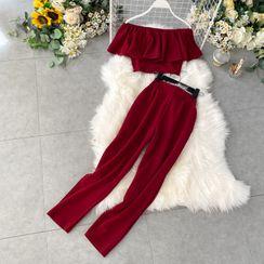 Lucuna - 套装: 短款上衣 + 宽腿裤