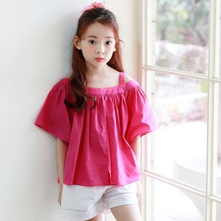 Youtale - Kids Cold Shoulder Elbow-Sleeve Top
