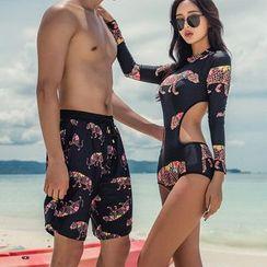 Seabird - Couple Matching Leopard Print Swimsuit / Swim Trunks