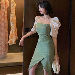 ZY·HT - Cold Shoulder Short-Sleeve A-Line Party Dress