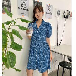 FROMBEGINNING - Puff-Sleeve Floral Print Shirtdress