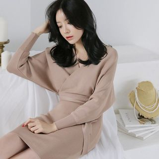Alberlino - Long-Sleeve Mini Knit Sheath Dress