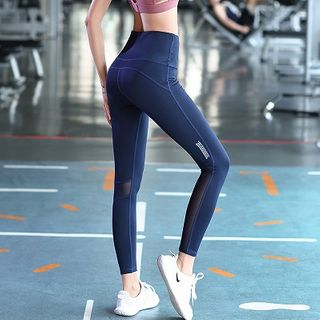 Wheatfield - 网纱拼接瑜伽裤