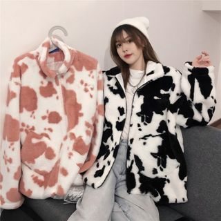 Sisyphi(シシピ) - Cow Print Fluffy Zip-Up Jacket