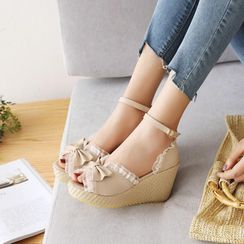 Pretty in Boots - Ankle Strap Espadrille Wedge-Heel Sandals