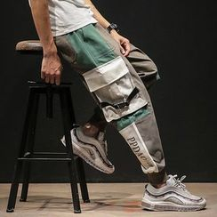 Ferdan - Color Block Harem Cargo Pants