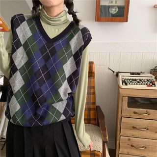 Zepto - Argyle Knit Vest / Long-Sleeve Turtleneck Top