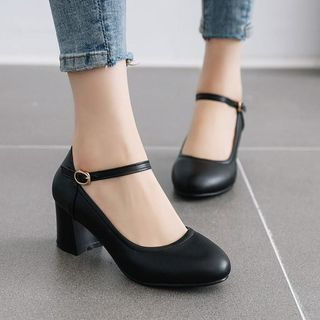 Shoes Galore(シューズガロア) - Block-Heel Ankle-Strap Pumps