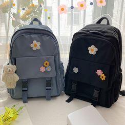 BANGGIRL - Floral Buckled Nylon Backpack