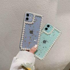 NISI - Faux Pearl Gold Leaf Transparent Phone Case - iPhone 12 / iPhone 11 Pro Max / 11 Pro / 11 / SE / XS Max / XS / XR / X / SE 2 / 8 / 8 Plus / 7 / 7 Plus