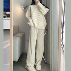 Antoinine - Set: Cable Knit Sweater + Wide Leg Pants