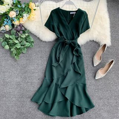 Lucuna - Short-Sleeve Tie-Waist Ruffle Hem Midi Dress