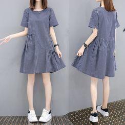 Minimince - Short-Sleeve Striped Tunic Dress