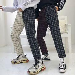 RONIN - Couple Matching Plaid Cropped Straight-Cut Pants