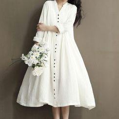 Ashlee - Maternity Plain Long-Sleeve Dress