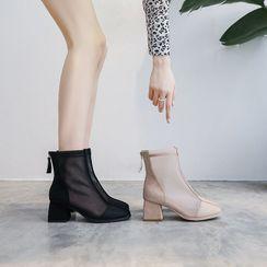 FiE FiE - 粗跟吊苏网纱短靴