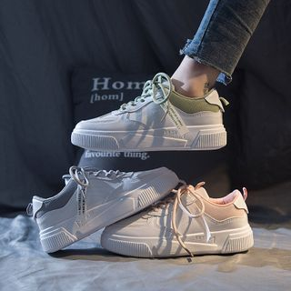 Shanhoo - Contrast Trim Lace Up Sneakers