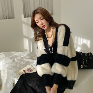 DABAGIRL - Striped Furry-Knit Cardigan