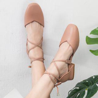 Shawnsher - 純色繫帶粗跟鞋