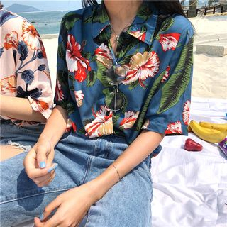 Tanee - Floral Loose-Fit Short-Sleeve Shirt