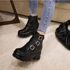 Kireina - Faux Leather Buckle Platform Ankle Boots