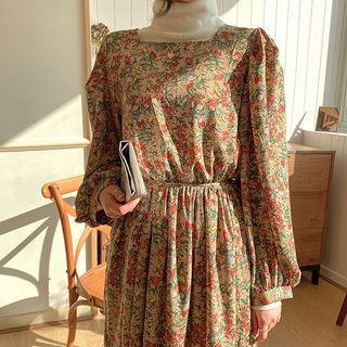 icecream12 - Square-Neck Maxi Floral Dress