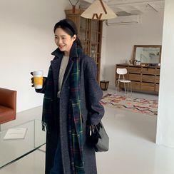 FROMBEGINNING - Hidden-Button Woolen Coat