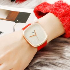 Tazzy - Irregular Square Faux Leather Strap Watch