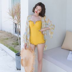 Candyseed - Set: Ruffled Swimsuit + Feather Print Open-Front Jacket
