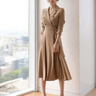 Lewwe - Belted Midi A-Line Blazer Dress