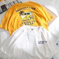 OSIGRANDI - Car Print Lettering Short-Sleeve T-Shirt