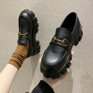 Bolitin - Buckled Faux Leather Platform Loafers