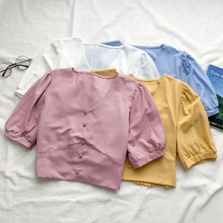 Babique - Puff-Sleeve V-Neck Crop Top