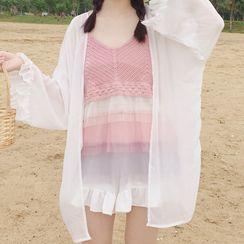 Shinsei - 雪纺夹克 / 层层吊带背心