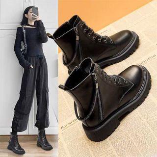 Belbie - Faux Leather Lace-Up Platform Ankle Boots