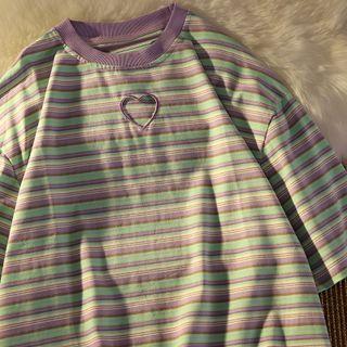 CloudDazz - Short-Sleeve Heart Cutout Striped T-Shirt