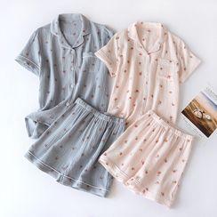 Dogini - Pajama Set: Short-Sleeve Peach Print Top + Shorts