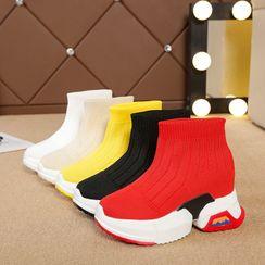 Chunki - 针织高帮轻便厚底休閒鞋
