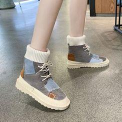 Wello - Applique Lace-Up Short Boots